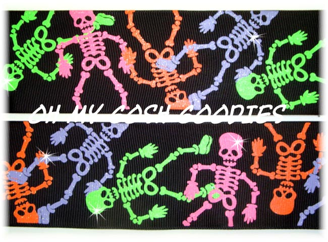 2 1/4 NEON GLITTER SKELETONS - 5 YARDS