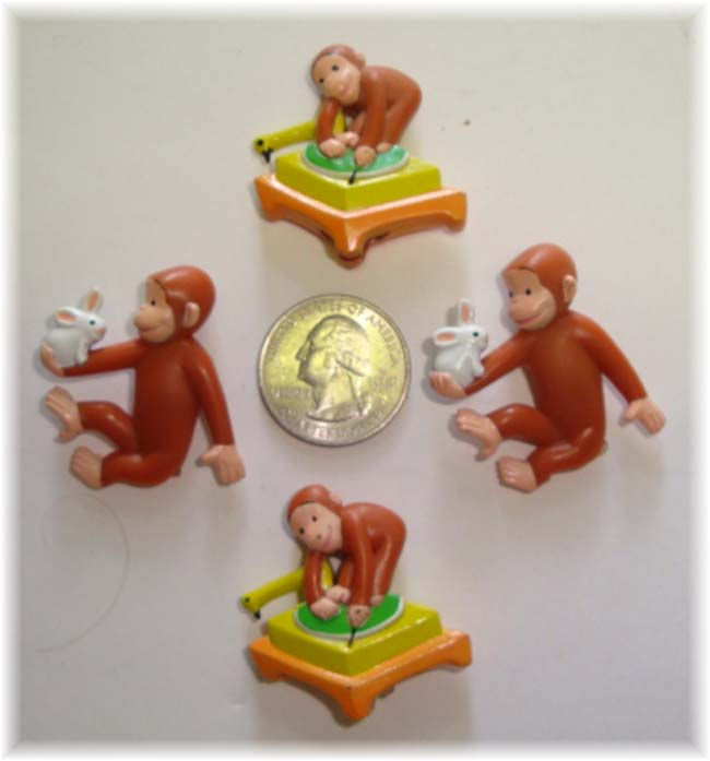 4PC OOAK CURIOUS GEORGE MONKEY HAIRBOW EMBELLISHMENTS