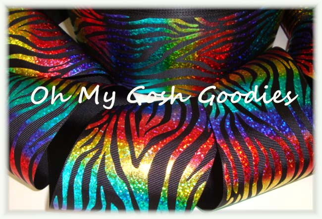 3 * BLACK * HOLOGRAM WAVE RAINBOW ZEBRA - 5 YARDS