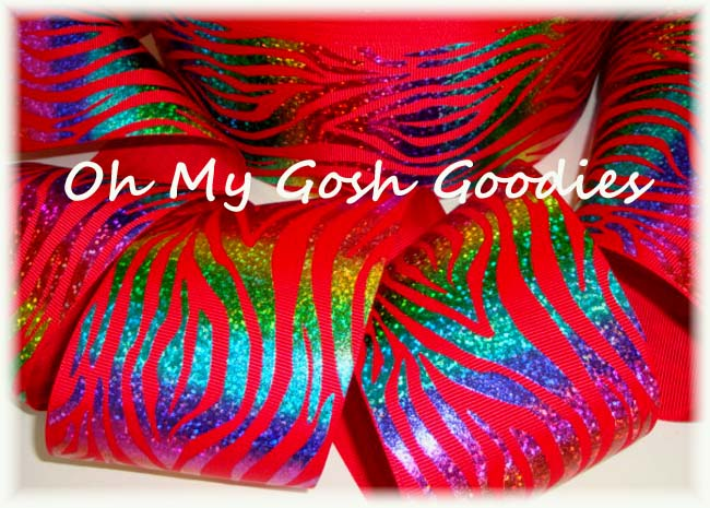 3 * RED * HOLOGRAM WAVE RAINBOW ZEBRA - 5 YARDS
