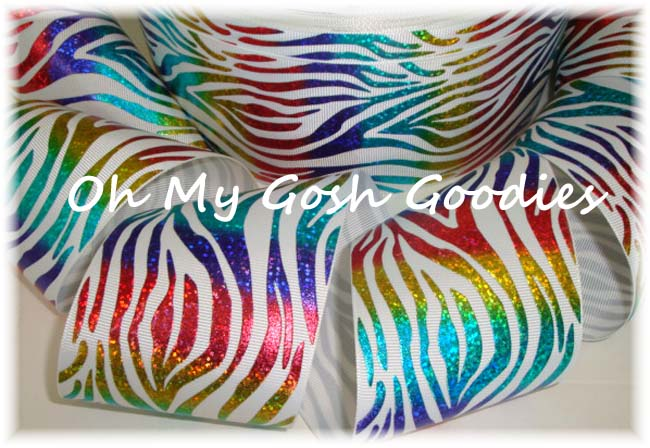 3 * WHITE * HOLOGRAM WAVE RAINBOW ZEBRA - 5 YARDS