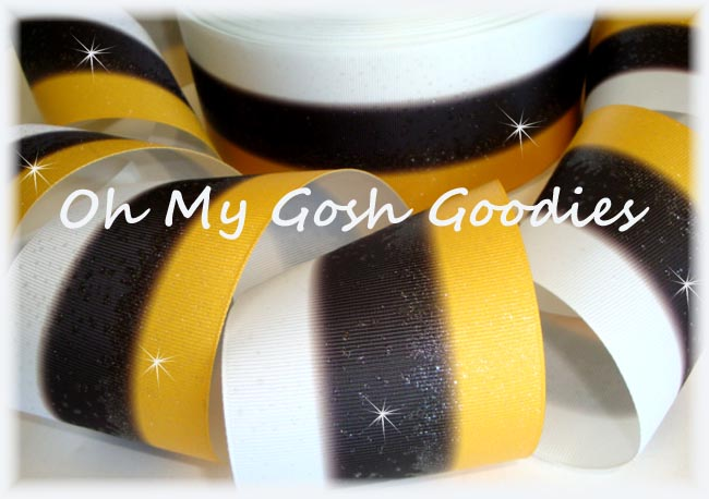 "3"" * TRIPLE STRIPE FROSTED * GLITTER YELLOW GOLD BLACK WHITE - 5 YARDS"