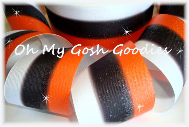 "3"" * TRIPLE STRIPE FROSTED * GLITTER ORANGE BLACK WHITE - 5 YARDS"