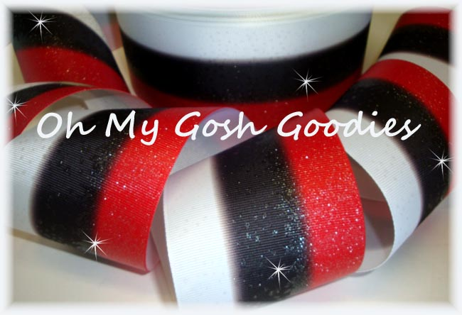 "3"" * TRIPLE STRIPE FROSTED * GLITTER RED BLACK WHITE - 5 YARDS"