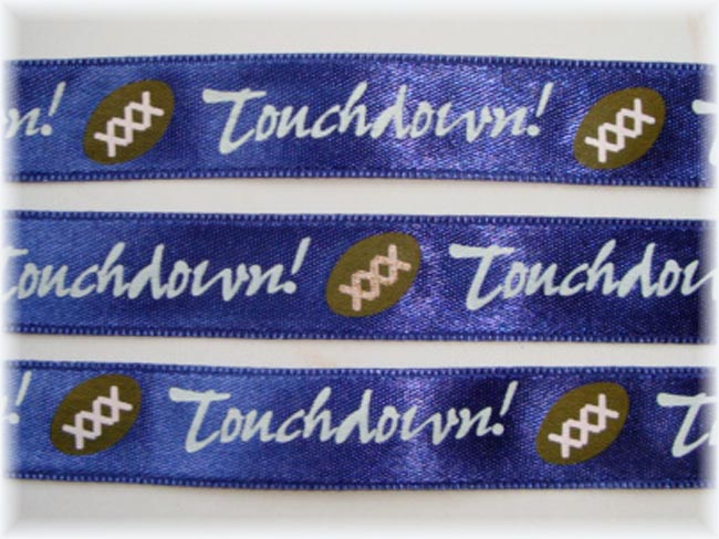 5/8 OOAK TOUCHDOWN FOOTBALL NAVY SATIN RIBBON  - 5 2/3 YARDS
