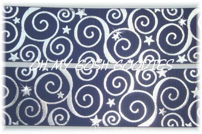 2 1/4 SWIRLS & STARS BLING NAVY -  5 YARDS