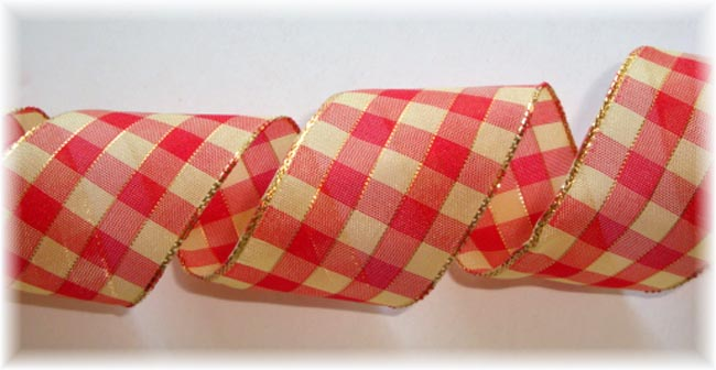1.5 OOAK RED SNICKERDOODLE WIRED CHECK - 10 YARDS
