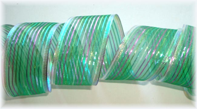 1.5 OOAK IRIDESCENT FESTIVE WIRED STRIPE - 10 YARD ROLL
