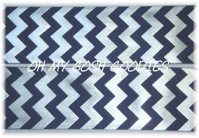 2 1/4 OOAK NAVY SILVER FOIL CHEVRON - 4 YARDS