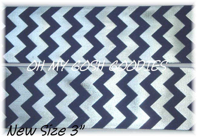 "3"" NAVY SILVER FOIL CHEVRON - 5 YARDS"