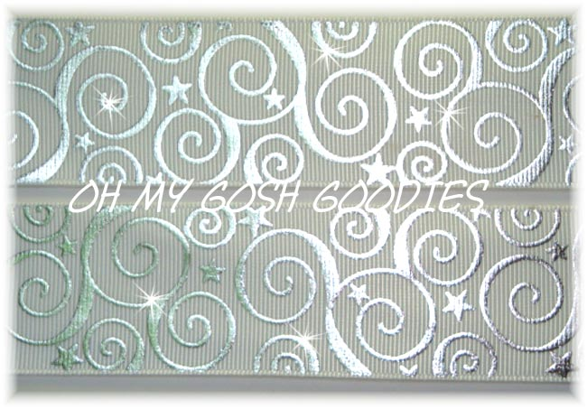 2 1/4 OOAK SWIRLS & STARS BLING WHITE -  4 REMNANT YARDS