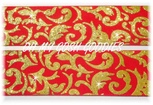 1.5 GOLD RED GLITTER DAMASK - 5 YARDS