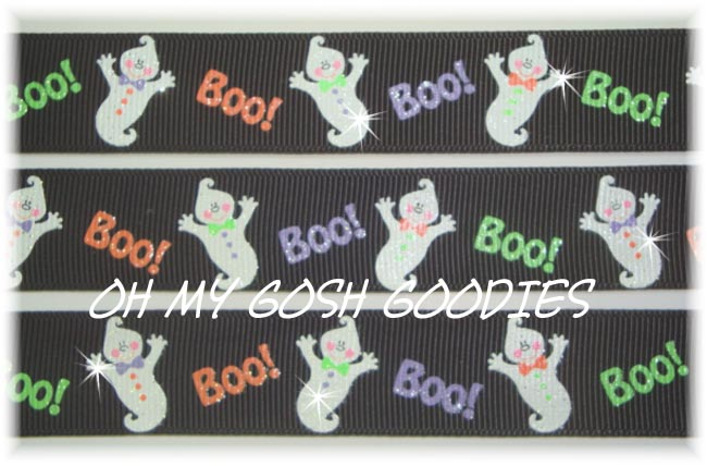 7/8 GLITTER BOO BABY GHOSTS - 5 YARDS