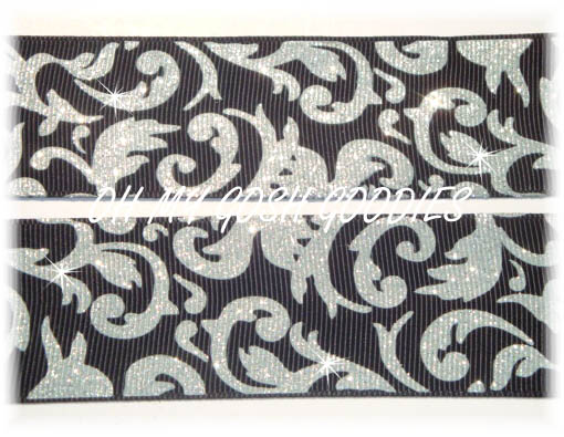 1.5 OOAK SILVER BLACK GLITTER DAMASK - 5 YARDS