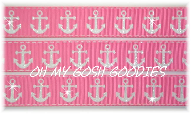 7/8 GLITTER ANCHORS PINK- 5 YARDS