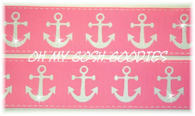 1.5 GLITTER ANCHORS PINK - 5 YARDS
