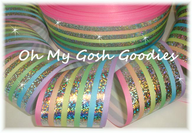 """3"""" * PASTEL OMBRE * CLASSIC HOLOGRAM STRIPE - 5 YARDS"""