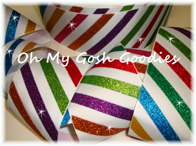 "3"" * CIRCUS STRIPES * GLITTER DIAGONAL STRIPE - 5 YARDS"