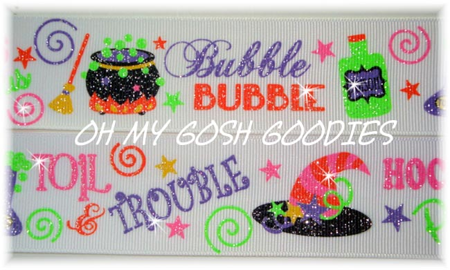 1.5 GLITTER NEON BUBBLE TOIL & TROUBLE - 5 YARDS