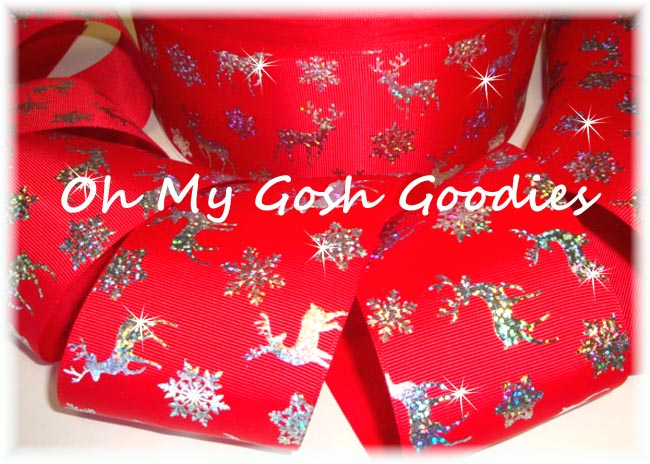 "3"" * RED * HOLOGRAM REINDEER  - 5 YARDS"