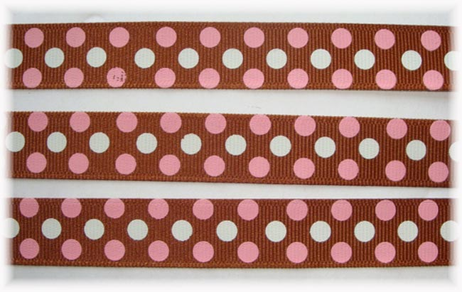 5/8 BROWN PINK CONFETTI DOTS - 3 YARDS