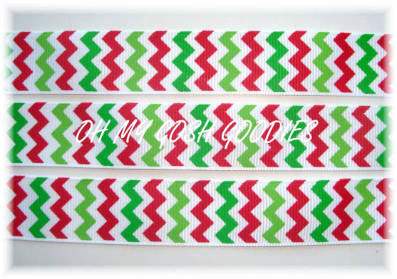 7/8 * SALE * CHEVRON  WHITE RED LIME GREEN - 5 YARDS