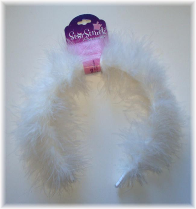 WHITE MARIBOU FUR HEADBANDS * MB3 *  - 6 PIECE