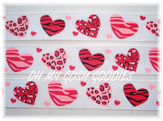 7/8 PINK RED LEOPARD ZEBRA HEARTS WHITE  - 5 YARDS
