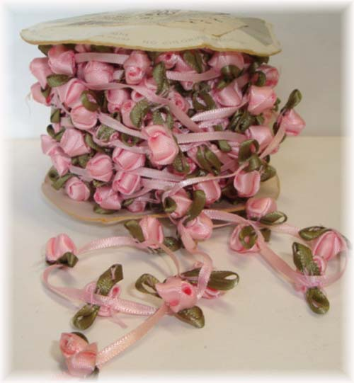 WRIGHTS PINK RIBBON ROSE GARLAND - 8 YARD ROLL
