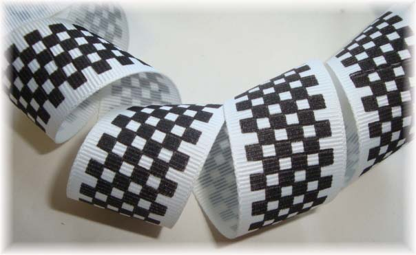 "1"" * CLASSIC "" SALE BLACK WHITE NASCAR CHECK - 5 YARDS"
