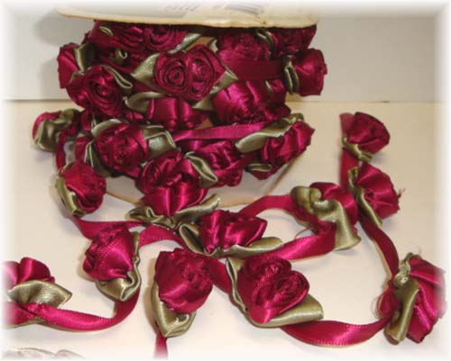 WRIGHTS RIBBON * DOUBLE * ROSE GARLAND WINE- 10 YARD ROLL