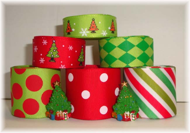 OOAK LIME CHRISTMAS TREES RIBBON MIX
