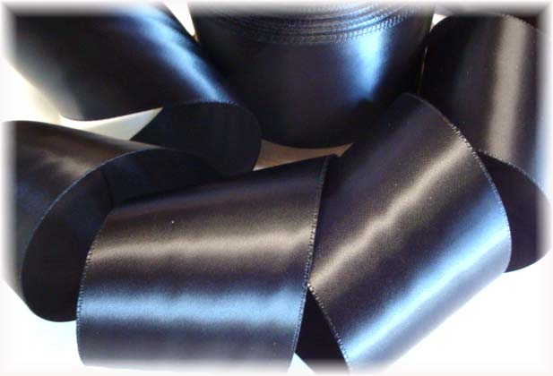2 1/4 OFFRAY BLACK SINGLE FACE WEDDING SATIN - 5 YARDS