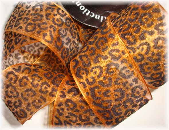 1.5 OOAK WIRED SHEER LEOPARD CHEETAH RIBBON - 5 1/3 YARDS