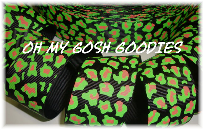 1.5 BLACK LIME NEON LEOPARD - 5 YARDS