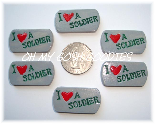 2PC LOVE MY SOLDIER DOG TAG RESINS