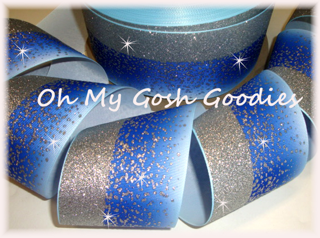 "3"" * DOUBLE * FROSTED GLITTER ROYAL OMBRE CHEER - 5 YARDS"