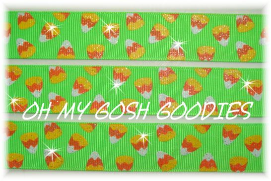 7/8 * GLITTER * CANDY CORN LIME - 5 YARDS