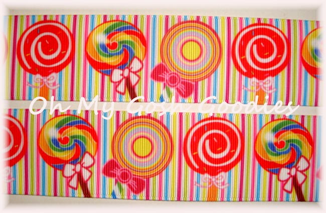 1.5 BRIGHT STRIPE LOLLIPOP CANDY - 5 YARDS