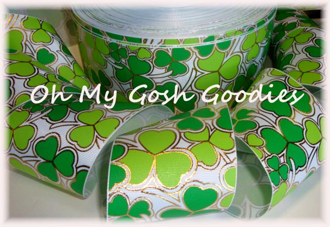 "3"" GOLD FOIL LIME & GREEN SHAMROCKS - 5 YARDS"