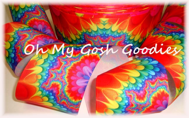 "3"" * EXTREME RETRO * TYE DYE CHEER RIBBON - 5 YARDS"