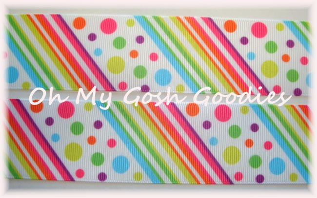 1.5 UNICORN DIAGONAL DOTS & STRIPES - 5 YARDS