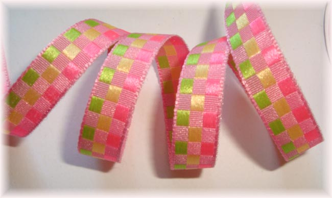3/8 OOAK PINK LIME YELLOW CHECKER - 4 YARDS
