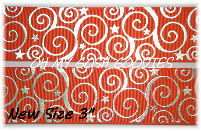 "3"" OOAK SWIRLS & STARS BLING ORANGE -  3 YARDS"