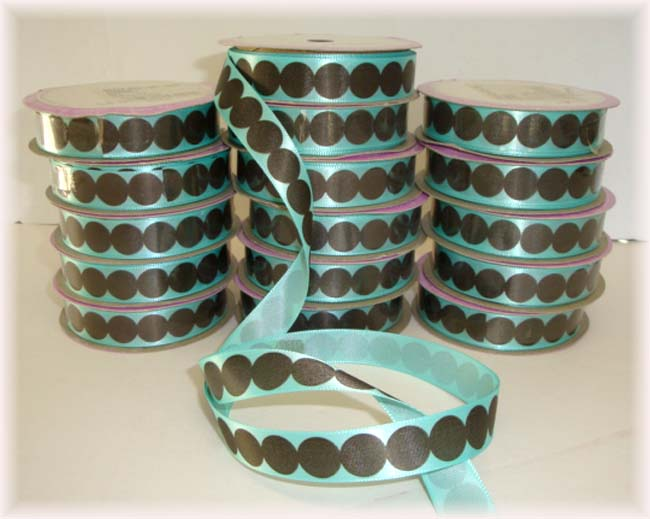 48 YARDS 5/8 OOAK OFFRAY ROUNDABOUT DOTS AQUA & BROWN - 16 - 3 YARD ROLLS