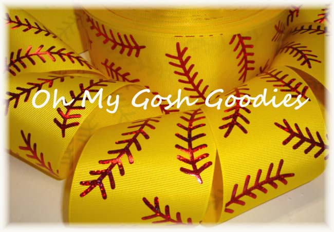 "3"" * DOUBLE * RED HOLOGRAM STITCH SOFTBALL BRIGHT YELLOW - 5 YARDS"