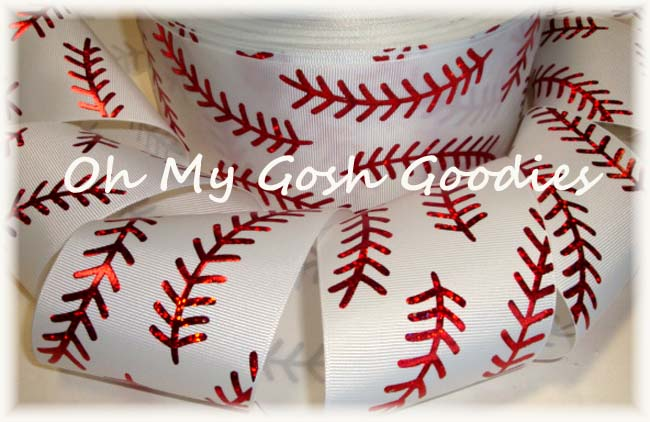 "3"" * DOUBLE * RED HOLOGRAM STITCH SOFTBALL WHITE - 5 YARDS"