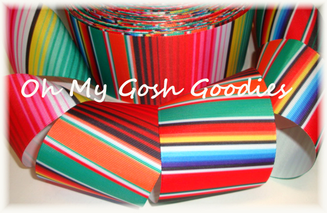"3"" * BLANKET * SERAPE STRIPE FIESTA RIBBON - 5 YARDS"