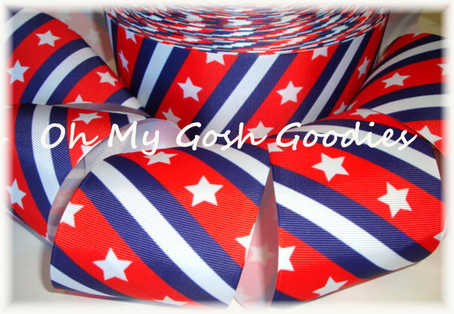 "3"" * CLASSIC DIAGONAL * PATRIOTIC STARS & STRIPES - 5 YARDS"
