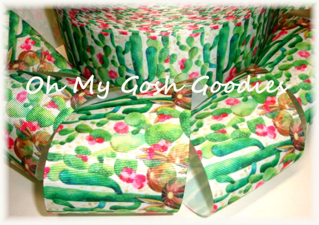 "3"" BLOOMING DESERT CACTUS BOHO RIBBON - 5 YARDS"